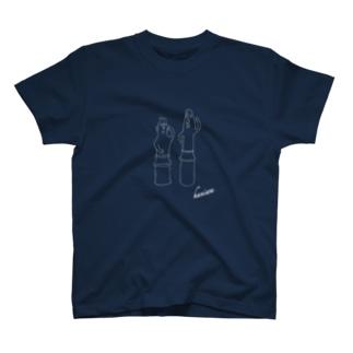 埴輪(はにわ)ー踊る男女《線色:白》 T-shirts