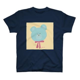 青いくまちゃん(イエローベース) T-shirts