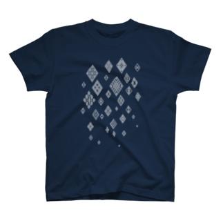 津軽こぎん刺し模様『snow modoco』ネイビー T-shirts