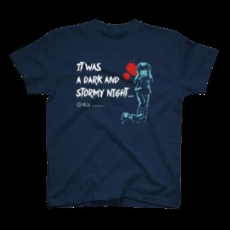 怖話グッズの怖話-Girlイラスト(T-Shirt Navy) T-shirts
