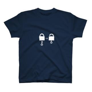 謎と宇宙好きの店のアンロック(白イラスト大) T-shirts