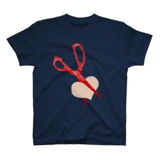 ハートカットのはさみ T-shirts
