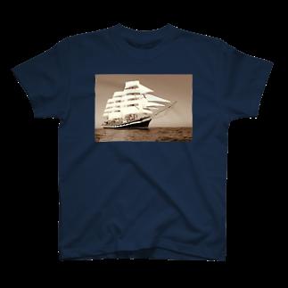 星野敬児(つぼぼ)の帆船セピア~宝を求めて大冒険~ T-shirts