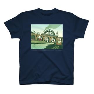 蒸気機関車と遊園地(ブルーグリーン) T-Shirt