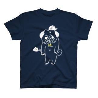 お花パグ/white T-shirts