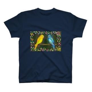 黄色と青のセキセイインコ T-shirts