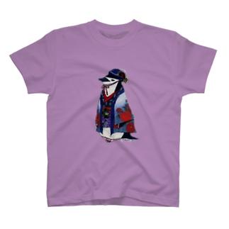 着物ぺんぎん―ヒゲペンが座れば牡丹― T-shirts