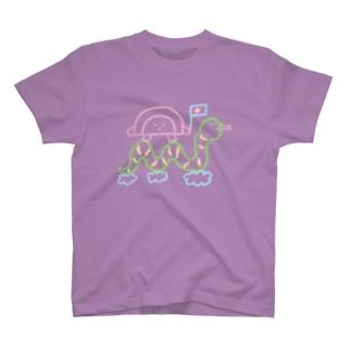 へびさんに乗ってGO T-shirts