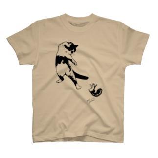 もけけ工房 SUZURI店のカンフーキャット1号 T-shirts