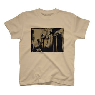寄り道への誘い【茶】(黒縁) T-shirts