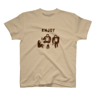 The Eight Wood Marketの雪男のエンジョイライフ(茶) T-shirts