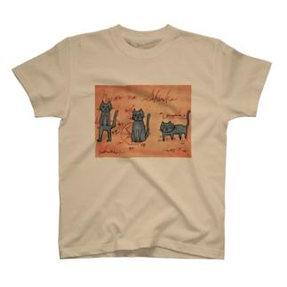 にゃんこの進化絵図 T-shirts