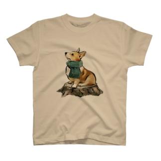 マフラー犬 コーギー T-shirts