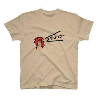 元気に鳴くニワトリ T-shirts