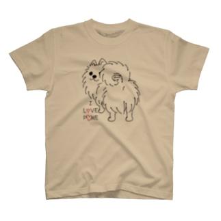 CT83いつも見ているポメラニアンG_*I LOVE POME*イラストサイズ大きいver. T-Shirt