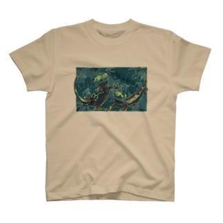 カサブランカとクレステッドゲッコー(グリーン) T-Shirt