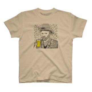 名画 × BEER(ゴッホ自画像)黒線画 T-shirts