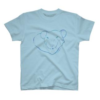 しろちゃんと一緒に筋トレしよう(青グラデ) Tシャツ