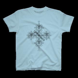 ERIKOERIN ART SHOPのlyricchordクロス黒ライン/ドローイングアートTシャツ