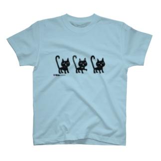 しっぽピーン 三匹の黒猫ちゃん Tシャツ