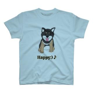 うるうる黒柴犬ちゃん 英語ロゴ T-shirts