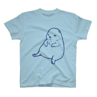ずんぐりプレーリー(ブルー) T-shirts