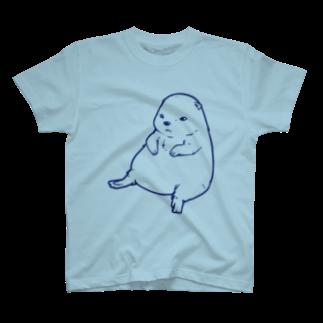 水道橋ですらのずんぐりプレーリー(ブルー) T-shirts