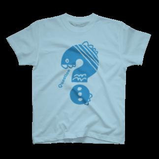 〈サチコヤマサキ〉ショップのクエスチョンの魚(水色) T-shirts