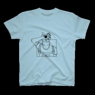Wave180の顔を隠す犬 T-shirts