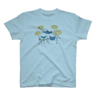 ドラムセット(ブルー) T-shirts