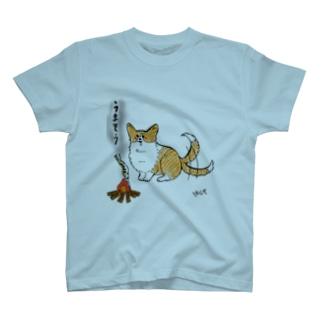 しっぽコーギー焚き火Tシャツ T-shirts