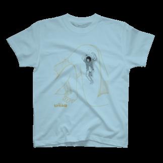 galleryHAKUSENの独身アパートどくだみ荘「飛び降りるヨシオ」 T-shirts