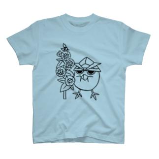 とりかぶと将軍 コケコッコー花Tシャツ③ T-shirts