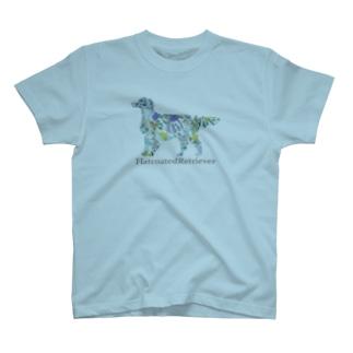 花 ボタニカル フラットコーテッドレトリバー T-shirts
