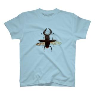 さとやま図案の飛ぶクワガタTシャツ T-shirts