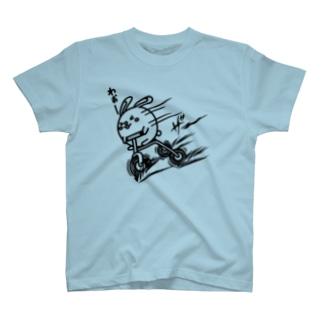 ウサコロまる・三輪車で坂を下る(線画:黒バージョン) T-shirts