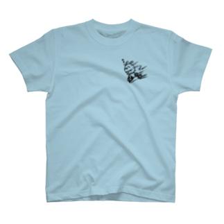 ウサコロまる・三輪車で坂を下る(小)(線画:黒バージョン) T-shirts