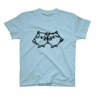 ニャンコロまる&茶トラニャンコロまる・くっつき(線画:黒バージョン) T-shirts