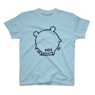 クマコロまる・尻フリ(線画:黒バージョン) T-shirts