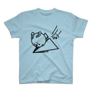 ウサコロまる・紙飛行機(線画:黒バージョン) T-shirts