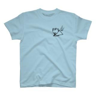 ウサコロまる・紙飛行機(小)(線画:黒バージョン) T-shirts