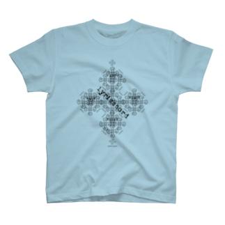 lyricchordクロス黒ライン/ドローイングアート Tシャツ