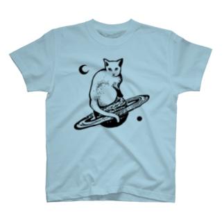 スペースキャット 黒線 T-shirts