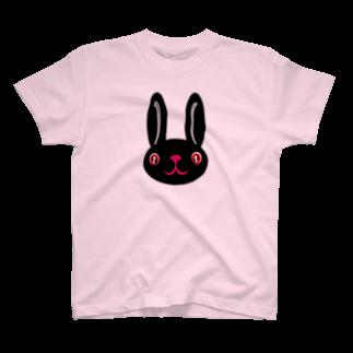 ameyoのウサギ black T-shirts