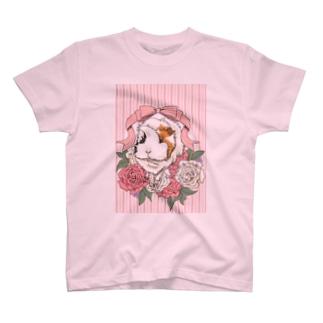 Lichtmuhleのレジメンタルストライプ×モルモット(ピンク) T-shirts