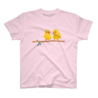 幸せの黄色いセキセイインコ Tシャツ