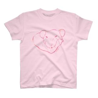 しろちゃんと一緒に筋トレしよう(赤グラデ) T-shirts
