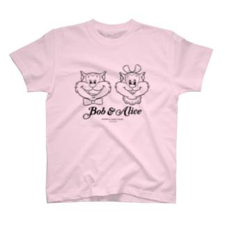 ボブ&アリス正面(黒線画) Tシャツ
