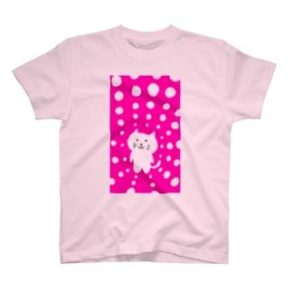 えかきにゃんこのお店♪のしろねこピンク白ドット T-shirts