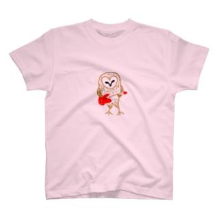 メンフクロウとギター T-shirts